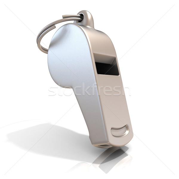 Metal assobiar isolado branco em pé futebol Foto stock © djmilic