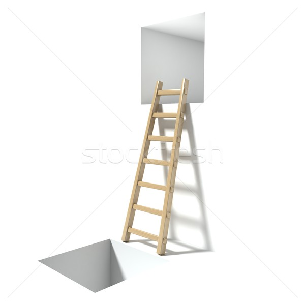Wooden ladder, window and hole. Abstract hopelessness concept. 3 Stock photo © djmilic