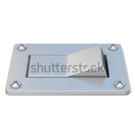 Srebrny moc przełącznik przycisk widok z boku 3D Zdjęcia stock © djmilic