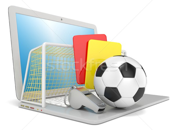 Football concept. Penalty (red and yellow) card, metal whistle,  Stock photo © djmilic