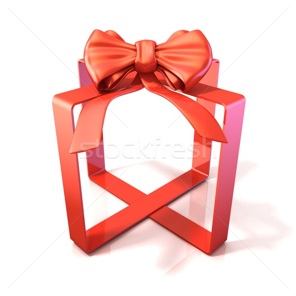 Festive gift ribbon and bow, box shaped, 3D Stock photo © djmilic