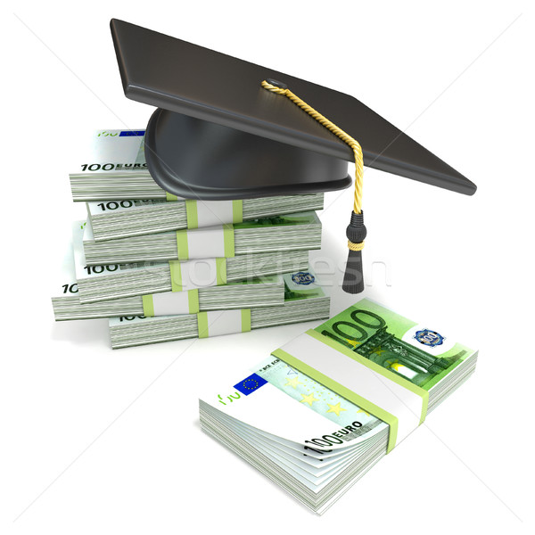 Education concept. Graduation cap on stack of euro bills. 3D Stock photo © djmilic