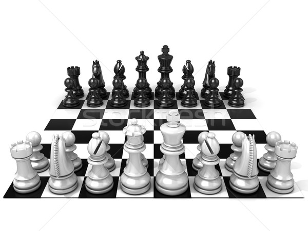 Stock photo: Chess Board with all chess pieces