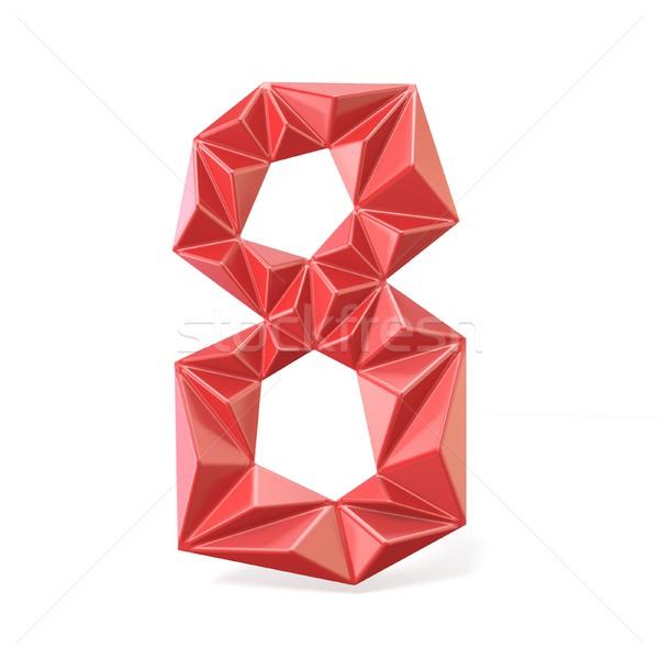 Vermelho moderno fonte dígito oito 3D Foto stock © djmilic