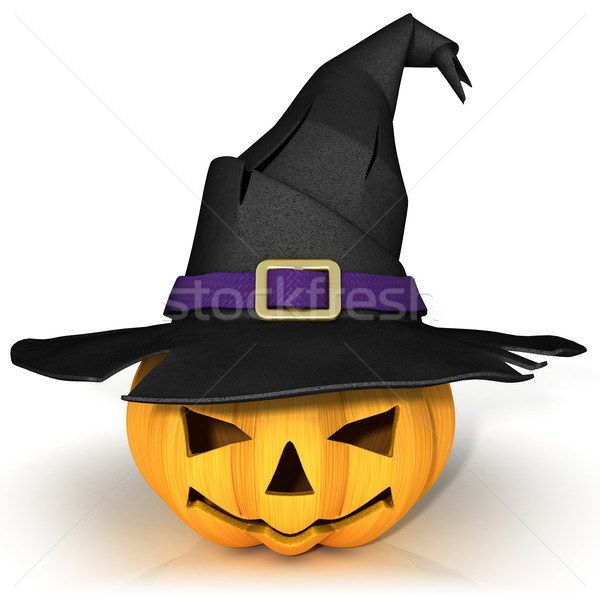 Funny Jack O Lantern. Halloween pumpkin, wearing a witch's hat Stock photo © djmilic