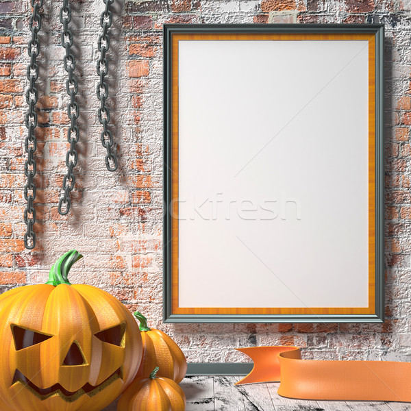 Jack O Lantern pumpkin, chains and mock up blank poster on white Stock photo © djmilic