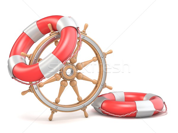 Wooden ship wheel and two life buoys 3D Stock photo © djmilic