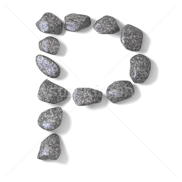 Font made of rocks LETTER P 3D Stock photo © djmilic