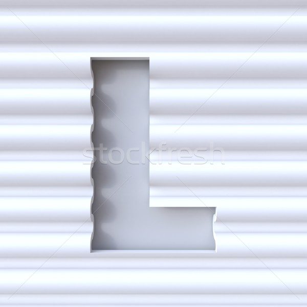Cut out font in wave surface LETTER L 3D Stock photo © djmilic