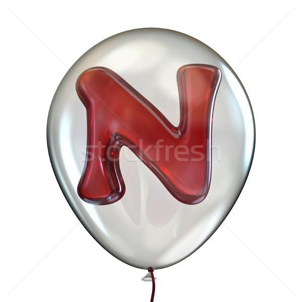 N betű átlátszó léggömb 3D 3d render illusztráció Stock fotó © djmilic