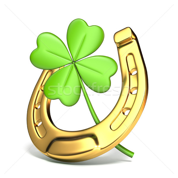 Lucky symbols horse-shoe and four-leaf clover Side view 3D Stock photo © djmilic