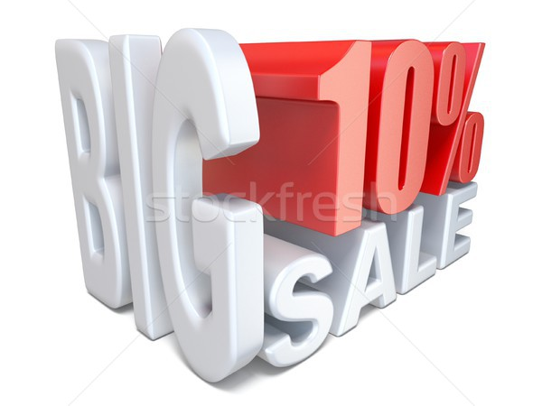 White red big sale sign PERCENT 10 3D Stock photo © djmilic