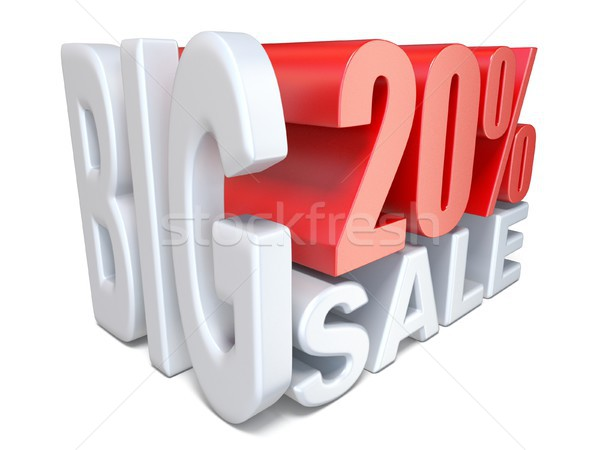 White red big sale sign PERCENT 20 3D Stock photo © djmilic