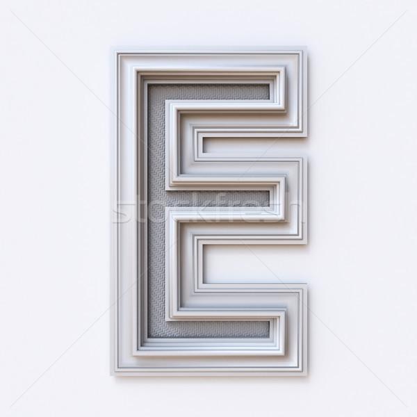White picture frame font Letter E 3D Stock photo © djmilic
