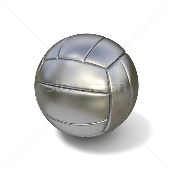 Ezüst röplabda labda izolált fehér 3D Stock fotó © djmilic