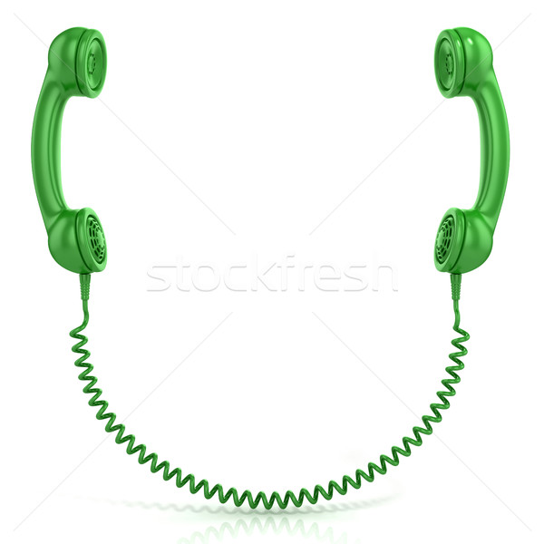 Zöld öreg divat telefon izolált fehér Stock fotó © djmilic