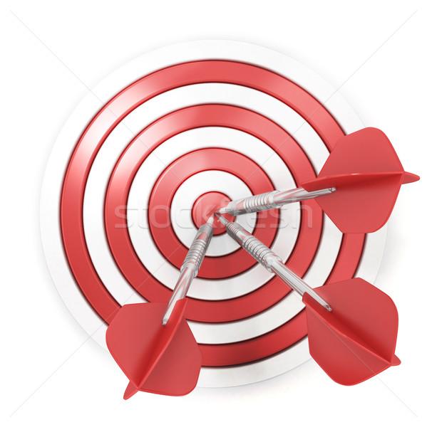 Darts hitting a target, 3D Stock photo © djmilic