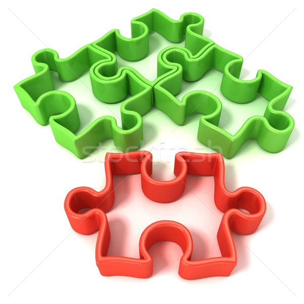 Four jigsaw puzzle outlined pieces Stock photo © djmilic