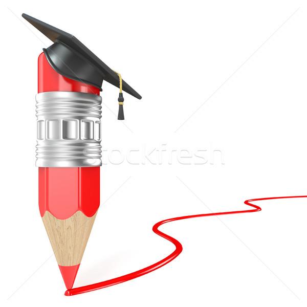 ストックフォト: 赤 · 鉛筆 · 卒業 · キャップ · 図面 · 行