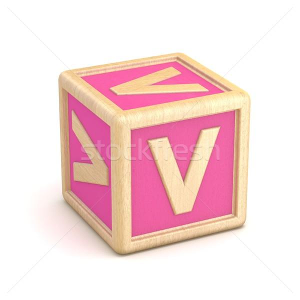 Letter V wooden alphabet blocks font rotated. 3D Stock photo © djmilic