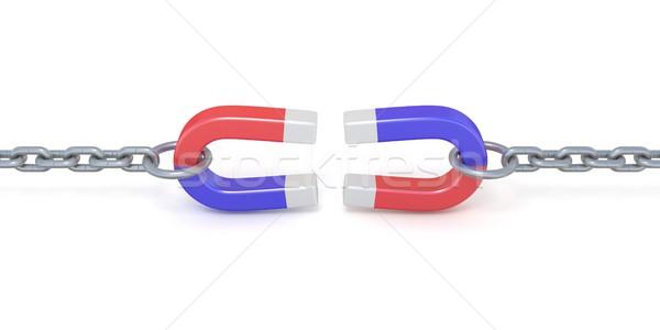Twee Rood Blauw hoefijzer magneet ketens Stockfoto © djmilic
