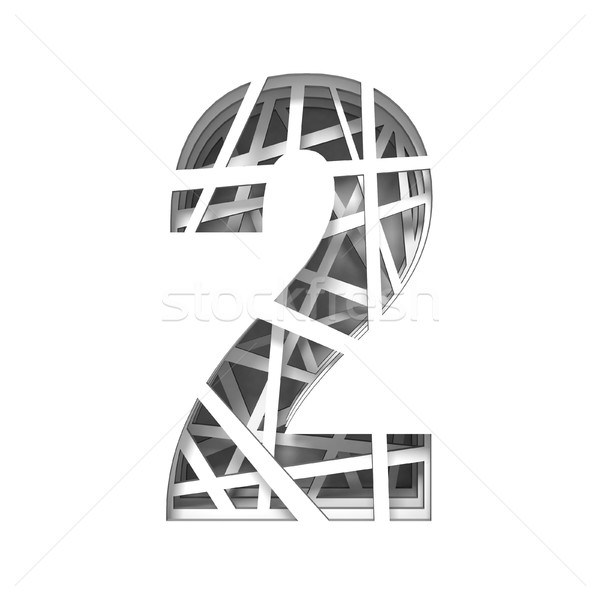 Paper cut out font number TWO 2 3D Stock photo © djmilic