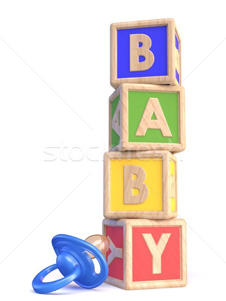 Word BABY made of wooden blocks toy and baby pacifier 3D Stock photo © djmilic