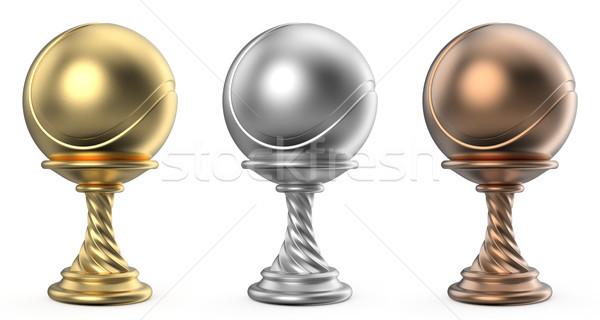 ストックフォト: 金 · 銀 · 青銅 · トロフィー · カップ · テニス