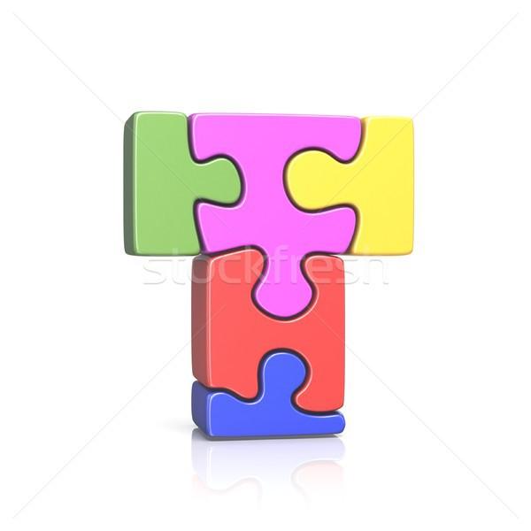 Puzzle fűrész t betű 3D 3d render illusztráció Stock fotó © djmilic