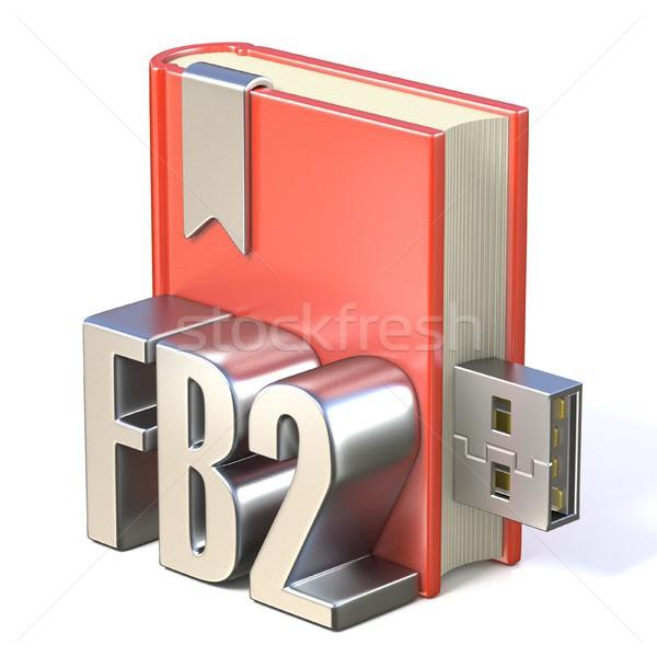 eBook icon metal FB2 red book USB 3D Stock photo © djmilic