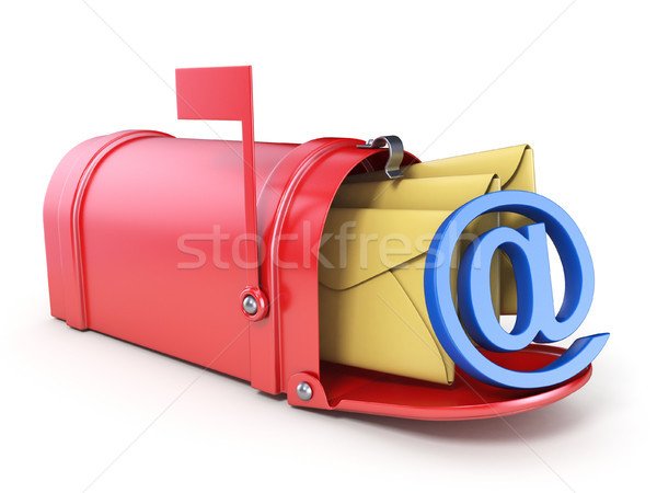 Red mailbox, two yellow envelope and blue AT sign 3D Stock photo © djmilic
