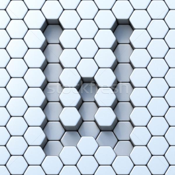 Hexagonal grid letter W 3D Stock photo © djmilic