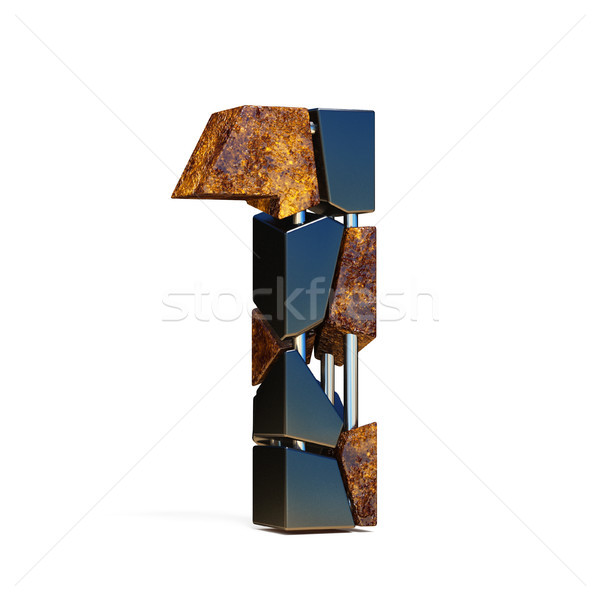 Black brown fracture font number 1 ONE 3D Stock photo © djmilic