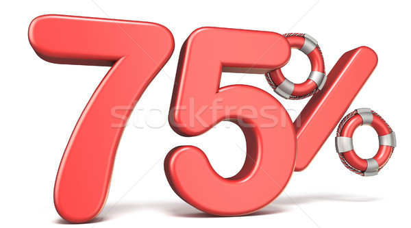 Life buoy 75 percent sign 3D render illustration Stock photo © djmilic