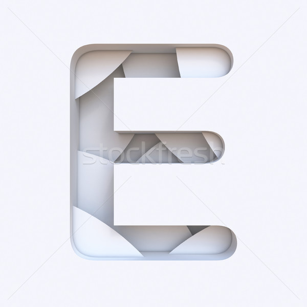 White abstract layers font Letter E 3D Stock photo © djmilic