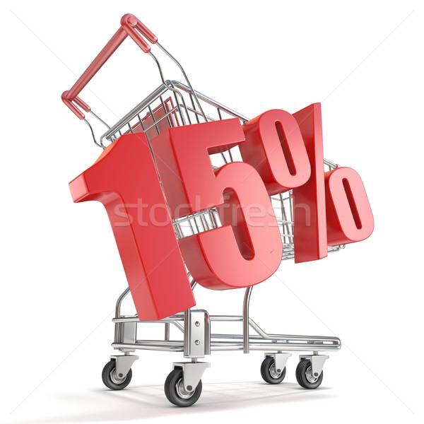 Stok fotoğraf: 15 · onbeş · yüzde · indirim · alışveriş · sepeti · satış