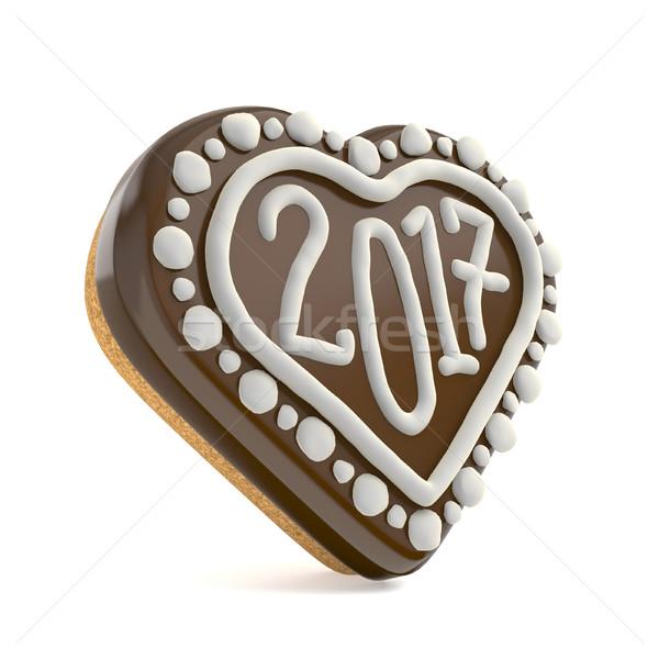 Stok fotoğraf: çikolata · Noel · zencefilli · çörek · kalp · şekli · dekore · edilmiş · 3d · render