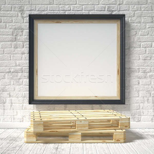 Mock up poster with wooden pallet. 3D Stock photo © djmilic