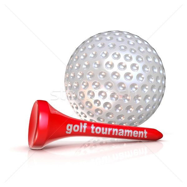 Golf ball and tee. Golf tournament sign. Isolated over white bac Stock photo © djmilic