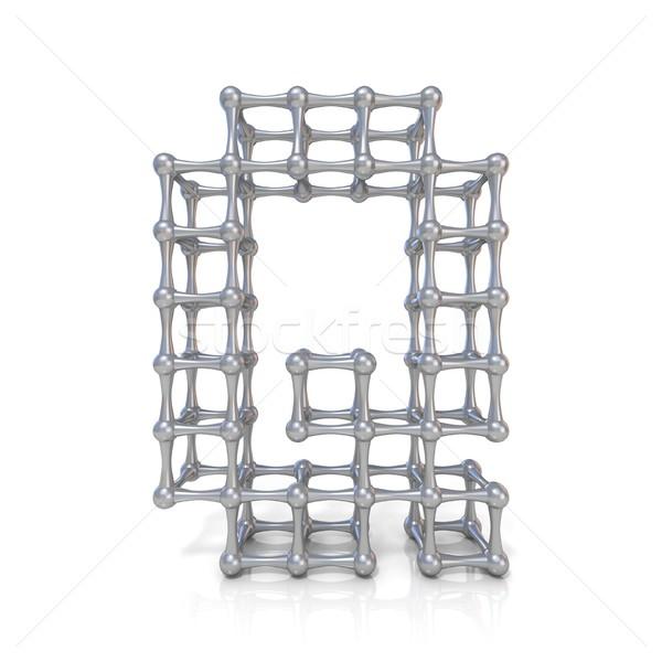 Metal lattice font letter Q 3D Stock photo © djmilic