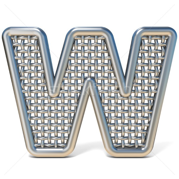 Outlined metal wire mesh font LETTER W 3D Stock photo © djmilic