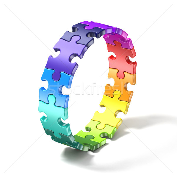 Colorful puzzle ring 3D Stock photo © djmilic