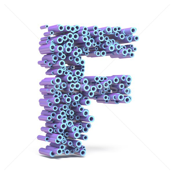 Purple blue font made of tubes LETTER F 3D Stock photo © djmilic
