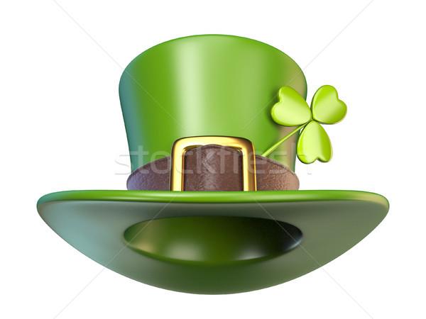 Verde festa di San Patrizio Hat trifoglio fronte view Foto d'archivio © djmilic