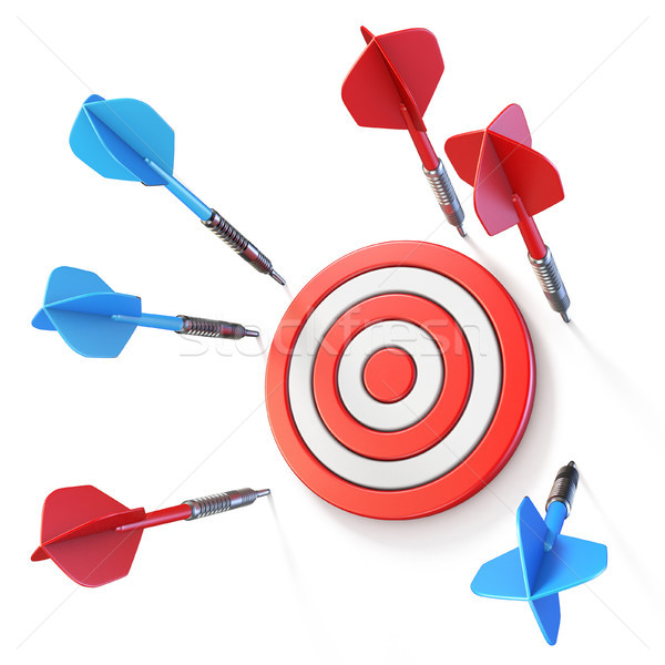 Stock photo: Blue and red dart miss target side view 3D
