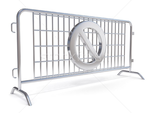 Steel barricades with NO sign. Side view Stock photo © djmilic