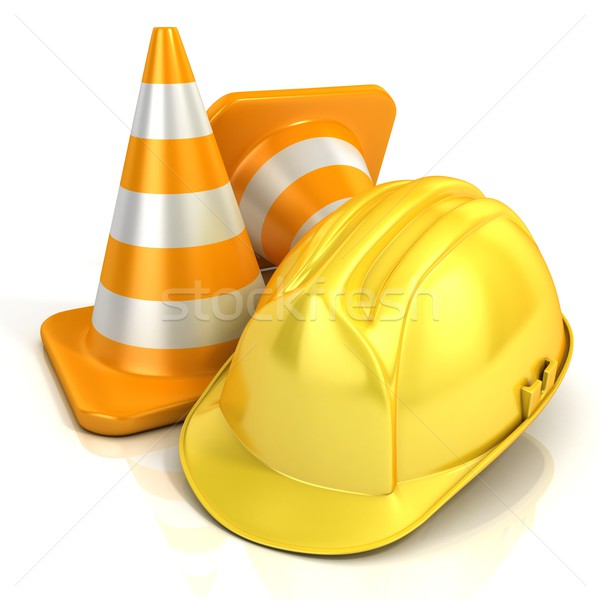 Traffic cones and safety helmet Stock photo © djmilic