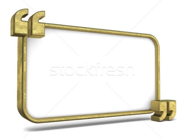 Kopia przestrzeń biały tablicy złoty 3D Zdjęcia stock © djmilic