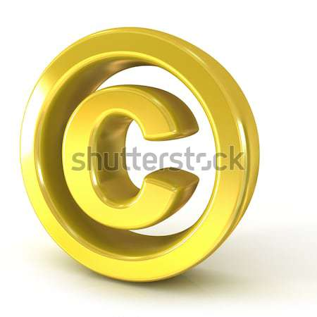 Szerzői jog szimbólum 3D arany izolált fehér Stock fotó © djmilic