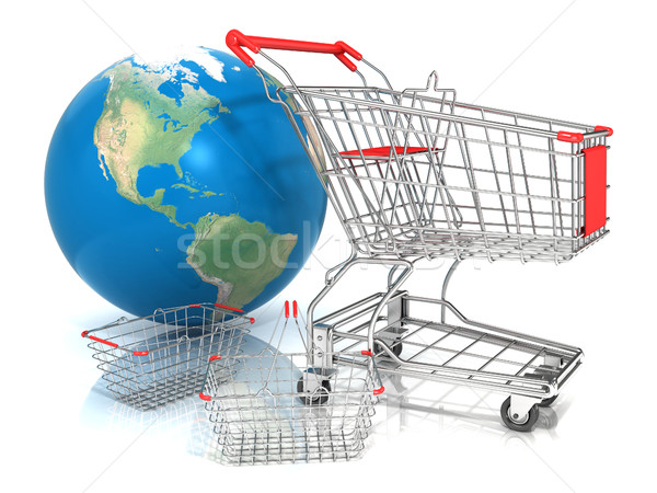 Steel wire shopping baskets and shopping cart in front of globe Stock photo © djmilic